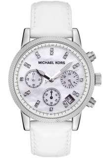 Michael Kors MK5049 Womens Chronograph White Crystal White Embossed