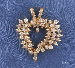 Genuine Diamond 14K Gold Heart Pendant 4 Necklace