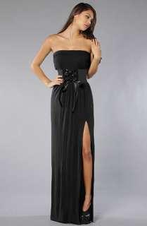 Venni Caprice Venni Caprice Black Blouson Jersey Dress with Slit BELT