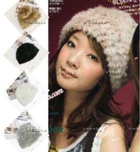 4colors Real farms REX RABBIT Fur Knit Hat/Scarf/Cape Fashion