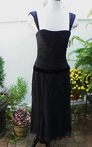 NWT Vera Wong Black Silk Cocktail Dress Size 8