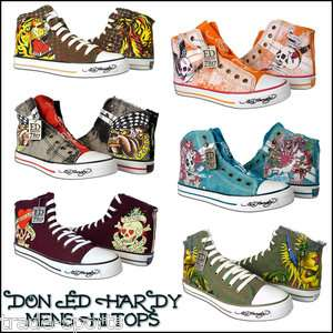 ED HARDY MENS WOMENS HI TOP TRAINERS SHOES ALL SIZES