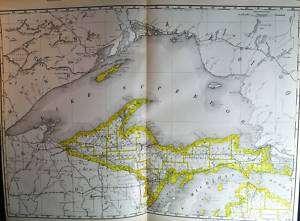 Original 1890 Antique Map Of Northern Michigan USA