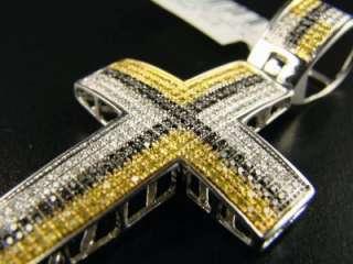 MENS WHITE GOLD FINISH DIAMOND MULTI COLOR CROSS PENDANT