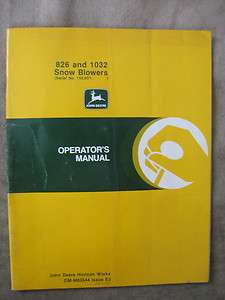 John Deere 826 1032 Snowblower operators manual JDE3