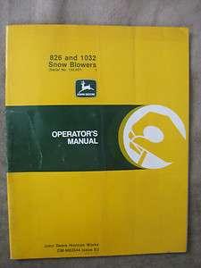 John Deere 826 1032 Snowblower operators manual JDE3