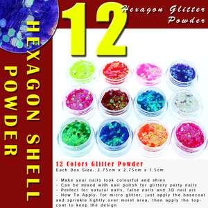 12 Color Hexagon Strips 3D Nail Art Tips Glitter Powder #434