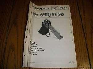 Husqvarna BV 650/1150 Leaf Blower Parts List Diagram