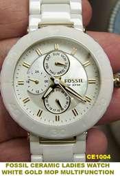 Fossil Ceramic Watch CE1006 Rose Gold Multifunction Wm