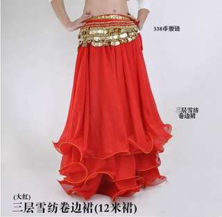 NWT Belly Dance Costume Three Layers Skirt 9 colours