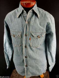 VERY RARE COLLECTABLE 1970S LEVI DENIM STUDDED SHIRT
