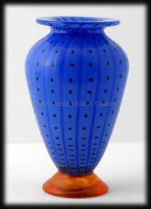 Blue Transjö Hytta Swedish Art Glass Vase Black Polka Dots Orange