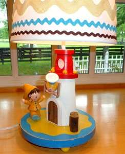 Vtg~IRMI~Nursery~Kid~Baby~Boy~Wood~Lighthouse~Nautical~Wooden~Lamp
