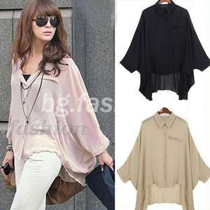 NEW Batwing Loose Shirt Asym Hem Blouse Tops 3 COLORS