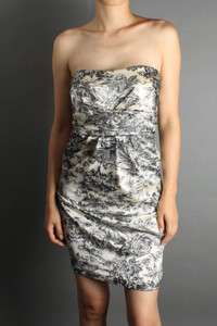 Printed Satin Pocket Strapless DRESS Cocktail Evening Party Prom NEW