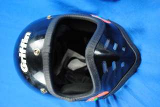 Vintage Full Face Motorcycle Helmet Black Griffin GX 707 Small