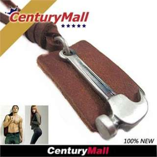 Genuine Real Mens Leather Necklace Boys Hammer Pendant Choker Fashion