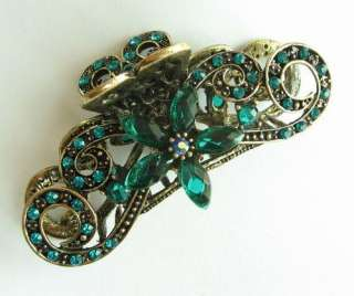 SWAROVSKI CRYSTAL LONG BIG FLOWER HAIR CLAW CLIP 844 VINTAGE