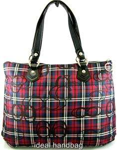 NWT COACH POPPY TARTAN GLAM RED BLACK PLAID BAG TOTE 18713