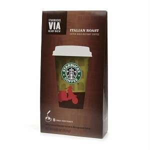 Starbucks Coffee Via Instant Coffee, ITALIAN ROAST, 8 SINGLE SERVINGS