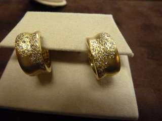 Raymond Hak SS Satin Finish Earrings Diamond 18K Yellow Gold Plated $
