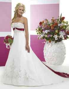 Store White/Red Satin Wedding Dress Size6 8 10 12 14 16