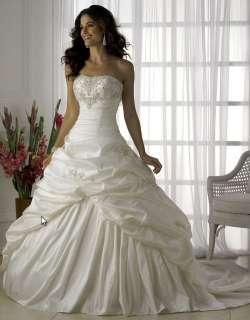 Graceful White Taffeta Bridal/Prom/Wedding Dress Costum ALL Size Freee