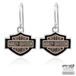 Harley Davidson Copper Cameo Bar/Shield Sterling Silver Earrings