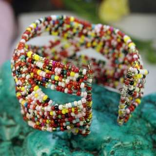 New Colorful Glass Seed Twisted Beads Open Ended New Cuff Bracelet
