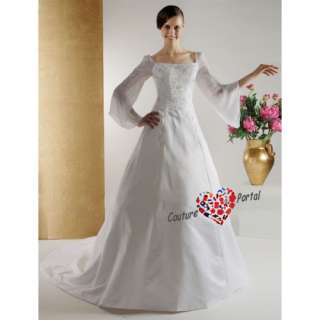 line Square Chapel Train Satin Chiffon Wedding Dress
