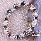Fashion Crystal Loose Beads Stretch Bracelet Bangle 7 L G166