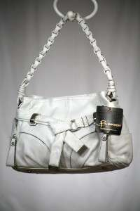 Makowsky Leather Lola Hobo Bag with Belt and Braided Strap WHITE