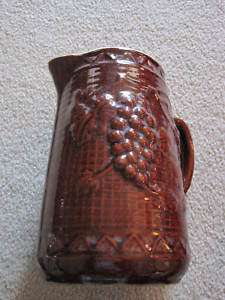 VINTAGE RED BROWN POTTERY PITCHER GRAPES DESIGN 9 TALL