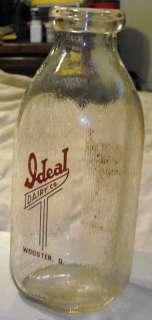 VINTAGE IDEAL DAIRY CO QT. GLASS MILK BOTTLE WOOSTER OH