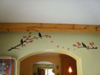 Red Tree and Birds removable wall stickers real photo