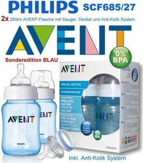 PHILIPS AVENT 2x260ml Baby Flaschen  BLAU  (SCF685/27/Flasche) Anti