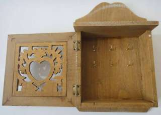 NEW   Shabby Chic Wood Key Hook Key Box With Hand Carved Heart Detail