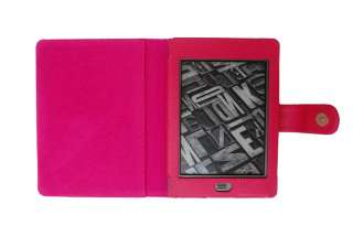 Genuine Leather Cover Case+LED Light+Film for Kindle Touch 6 e reader