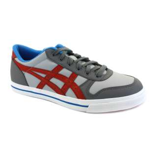 Asics Aaron H934Y 1123 Mens Leather Laced Trainers Grey Red