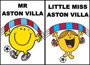 Mr Men/Little Miss Aston Villa FC Iron On T Shirt Transfer Football