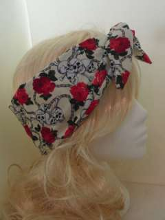 Vtg 50s Skull & Rose Head Scarf Rockabilly Wired Or Not