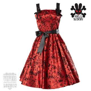 Evening Dress on New Hell Bunny Red Tattoo 50s Party Prom Rockabilly Dress Sizes 6