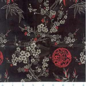 45 Wide Oriental Brocade Fabric Shanghai Red & Black By