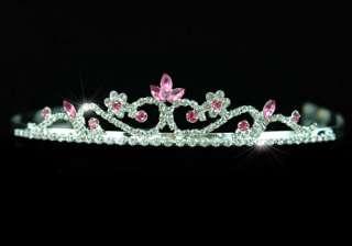 Bridal Wedding Pink Crystal Rhinestone Tiara Comb T1201