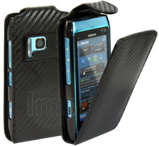NOKIA N8 FIBRE FLIP LEATHER CASE COVER   BLACK