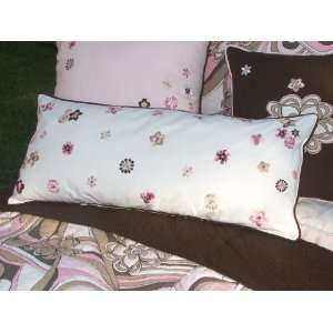 Bacati   Retro flower White Lumbar Pillow: Home & Kitchen