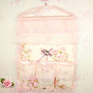 pink Home Bedroom Kitchen Wall Pockets Storage Bag lace rose bilayer