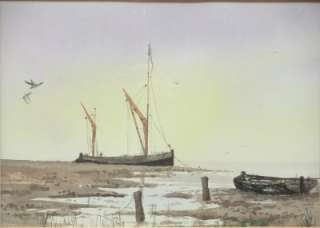 WATERCOLOUR PAINTING NAUTICAL BOATS SEA ALAN WHITEHEAD ENGLISH