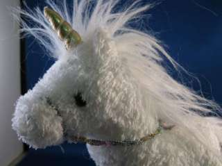 Douglas Cuddle Toy White Unicorn Plush Gold Horn