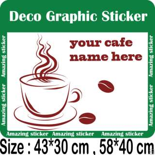 Cafe,Coffee Shop Sign Vinyl Wall/Window Decal Sticker